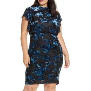 JULIA JORDAN Floral Ruffle Sleeve Jacquard Dress